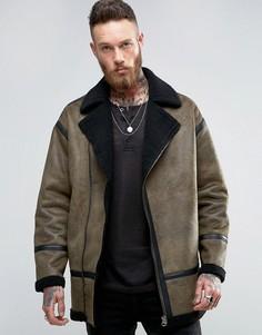 Байкерская куртка хаки из искусственной овчины ASOS - Зеленый