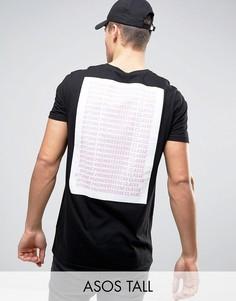 Длинная футболка с принтом Premiere Classe на спине ASOS TALL - Черный