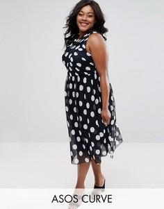 Сетчатое платье миди в горошек ASOS CURVE - Темно-синий