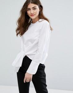 Рубашка без воротника с декоративным узлом сбоку New Look - Белый