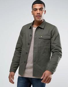 Куртка-рубашка в стиле милитари зеленого цвета с орлом Lyle & Scott - Зеленый