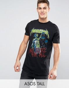 Длинная футболка с выцветшим принтом Justice For All ASOS TALL Metallica - Черный