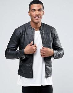 Байкерская куртка из искусственной кожи Minimum Pilton - Черный