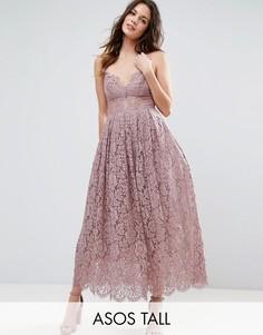 Кружевное платье миди для выпускного ASOS TALL - Фиолетовый