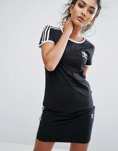 Черная футболка с тремя полосками adidas Originals - Черный