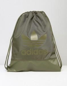 Рюкзак оливкового цвета на шнурке adidas Originals BK6757 - Зеленый