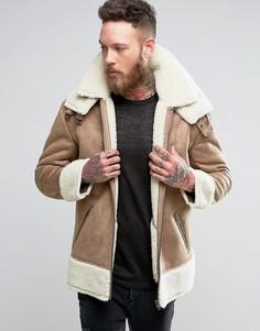 Oversize-куртка из искусственной овчины ASOS - Бежевый