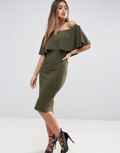 Платье миди из крепа с вырезом лодочкой и оборками ASOS - Зеленый