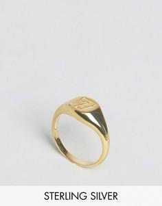 Позолоченное серебряное кольцо со счастливой цифрой 7 ASOS - Золотой