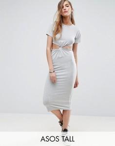 Облегающее платье миди с вырезом и перекрученным лифом ASOS TALL - Серый