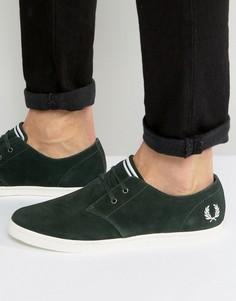 Зеленые низкие замшевые кроссовки Fred Perry Byron - Зеленый