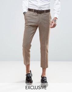 Укороченные твидовые брюки скинни с шевронным узором Heart & Dagger - Stone
