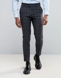 Серые узкие брюки в темно-синюю и серую клетку Harry Brown - Серый