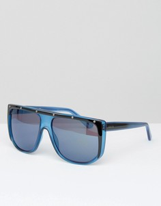Синие солнцезащитные очки с плоским верхом Gucci - Синий