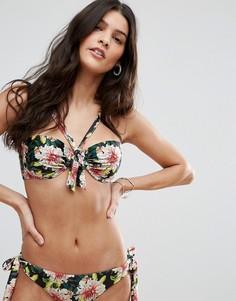 Бикини топ-бандо с завязкой на груди и цветочным принтом ASOS Angelic - Мульти