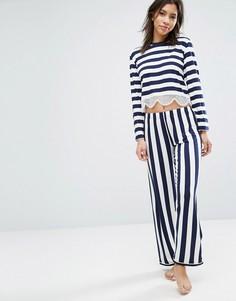 Пижамный комплект с кружевной отделкой Chelsea Peers - Темно-синий