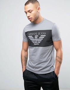 Серая футболка классического кроя с логотипом Armani Jeans - Серый