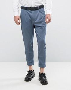 Эластичные укороченные брюки зауженного кроя Selected Homme - Синий