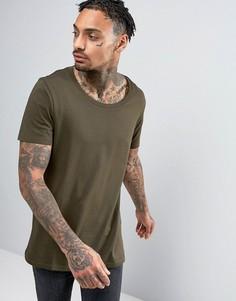 Темно-зеленая длинная футболка с глубоким вырезом ASOS - Зеленый