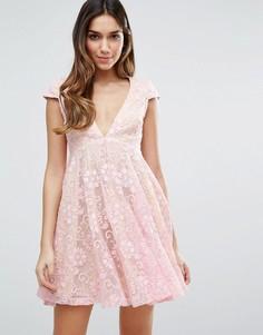 Кружевное чайное платье мини Jarlo - Розовый