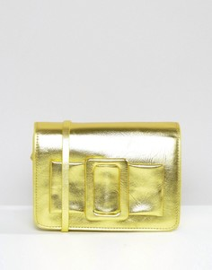Сумка через плечо цвета металлик с пряжкой ASOS - Желтый