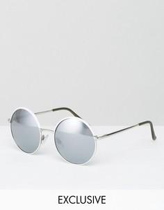 Круглые солнцезащитные очки с зеркальными стеклами Monki - Белый