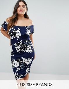 Платье миди с цветочным принтом с открытыми плечами и воланом AX Paris Plus - Темно-синий