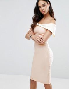 Платье-футляр колор блок с открытыми плечами Vesper - Мульти