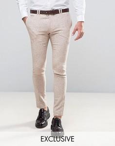 Суперузкие шерстяные брюки в клетку Noak Wedding - Бежевый