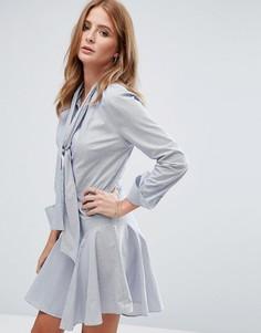 Платье-рубашка мини с бантом Millie Mackintosh - Темно-синий