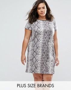 Платье из искусственной замши с принтом под змеиную кожу Elvi Plus - Мульти
