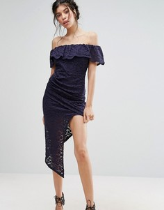 Кружевное платье с открытыми плечами и высоким разрезом до бедра Love Triangle - Темно-синий