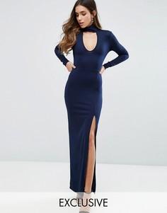 Платье макси с высокой горловиной-чокером и разрезом Club L - Темно-синий