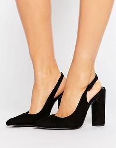 Туфли на цилиндрическом каблуке с ремешком через пятку New Look - Черный