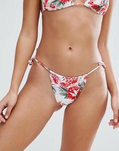 Плавки-бикини с цветочным принтом Missguided - Красный