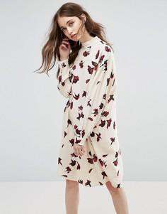 Платье из крепа с принтом гвоздик Ganni Jones - Кремовый
