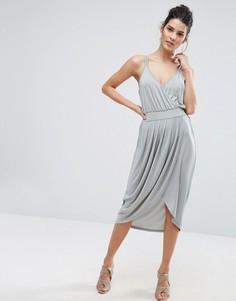Платье на бретельках с запахом Vero Moda - Темно-синий