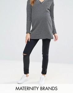 Эластичные джинсы скинни с рваными коленями Isabella Oliver - Черный