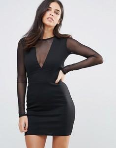 Платье мини с открытой спиной и сетчатыми рукавами Oh My Love - Черный