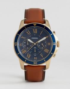 Часы-хронограф с кожаным светло-коричневым ремешком Fossil FS5268 Grant Sport - Рыжий