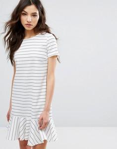 Платье-футболка в полоску с оборкой по краю Vila - Мульти
