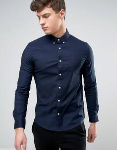 Эластичная оксфордская рубашка скинни Burton Menswear - Темно-синий
