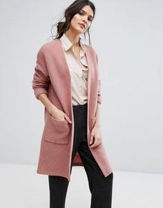 Вязаное пальто-кардиган Selected Femme - Розовый