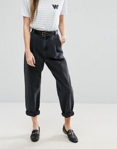 Зауженные джинсы с поясом ASOS - Черный