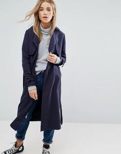 Легкое пальто с поясом New Look - Синий