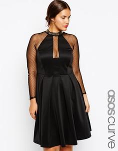 Приталенное платье с цепочкой эксклюзивно для ASOS CURVE - Черный