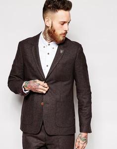 Коричневый пиджак из ткани в елочку Farah - Коричневый