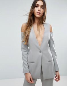 Приталенный пиджак с вырезами на плечах ASOS - Синий