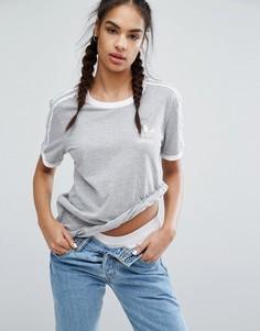 Серая футболка с тремя полосками adidas Originals - Серый