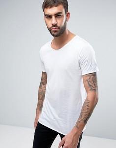 Белая длинная футболка с необработанным краем HUGO by Hugo Boss Depus - Белый